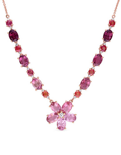 Concerto 0.33 TCW Diamonds, Pink Tourmaline, Orange Sapphire and 14K Rose Gold Floral Necklace-PINK-One Size