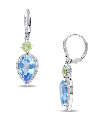 Concerto 0.364 TCW Diamonds, Blue Topaz, Peridot and 14K White Gold Drop Earrings-MULTI-One Size
