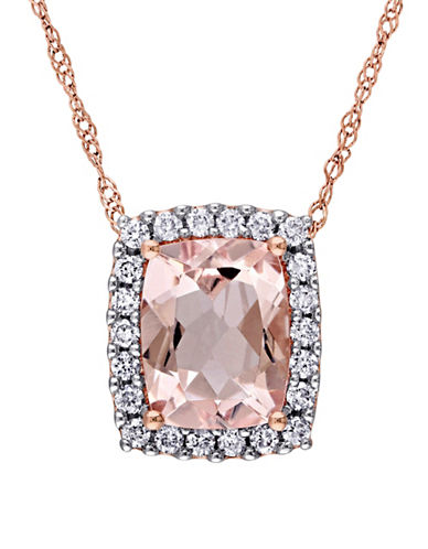 Concerto 0.25 TCW Diamond, Morganite and 14K Rose Gold Halo Necklace-PINK-One Size