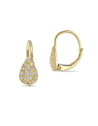 Concerto White Sapphire and 14K Yellow Gold Teardrop Cluster Pierced Earrings-WHITE-One Size