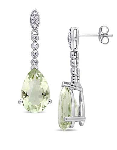 Concerto Green Amethyst, 0.16 TCW Diamond and 14K White Gold Drop Earrings-GREEN-One Size