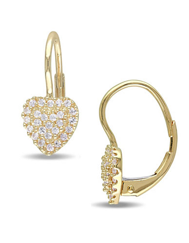 Concerto White Sapphire and 14K Yellow Gold Heart Cluster Pierced Earrings-WHITE-One Size