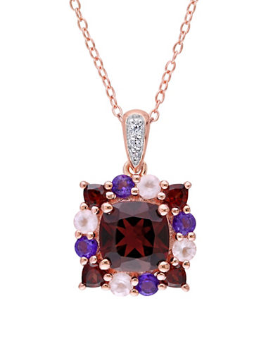 Concerto Multi-Gemstone Cluster Halo Rose Plated Sterling Silver Necklace-MULTI-One Size