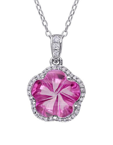 Concerto 0.12 TCW Diamond, Pink Topaz, and Sterling Silver Flower Halo Necklace-PINK-One Size
