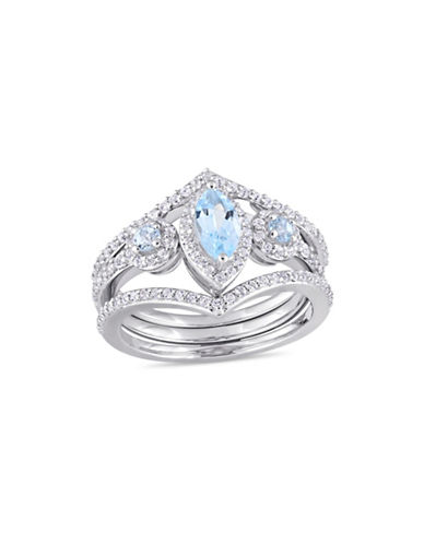 Concerto Blue Topaz, White Topaz Three-Stone Cluster Three-Row Ring-BLUE-7