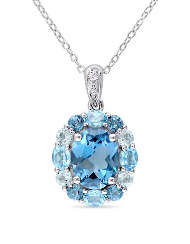 Concerto Blue and White Topaz Sterling Silver Floral Halo Necklace-BLUE-One Size