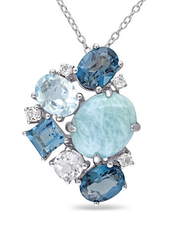 Concerto Larimar and Blue Topaz Sterling Silver Cluster necklace-BLUE-One Size