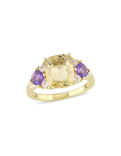 Concerto Citrine, Amethyst, White Topaz and Sterling Silver Three-Stone Ring-YELLOW-5