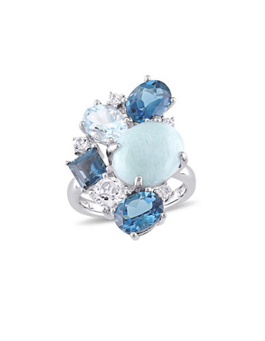 Concerto Larimar, Blue Topaz, White Topaz and Sterling Silver Cluster Cocktail Ring-BLUE-5