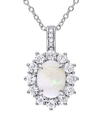 Concerto Opal, White Topaz, 0.02 TCW Diamond Halo Necklace-WHITE-One Size