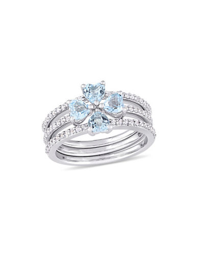 Concerto Blue Topaz, White Topaz and Sterling Silver Clover Heart Three-Row Ring-BLUE-6