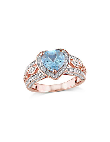 Concerto 0.10 TCW Diamond, Blue Topaz and Sterling Silver Vintage Heart Ring-BLUE-6