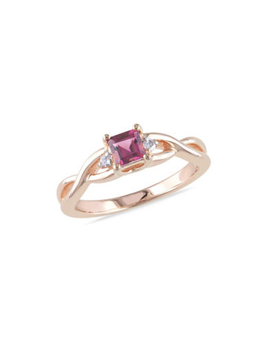Concerto 0.04 TCW Diamond and Tourmaline Sterling Silver Infinity Ring-PINK-5