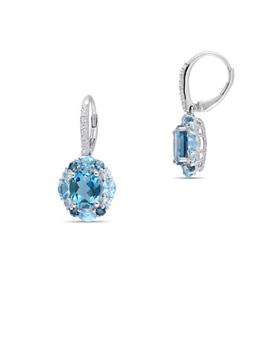 Concerto Blue and White Topaz Sterling Silver Earrings-BLUE-One Size