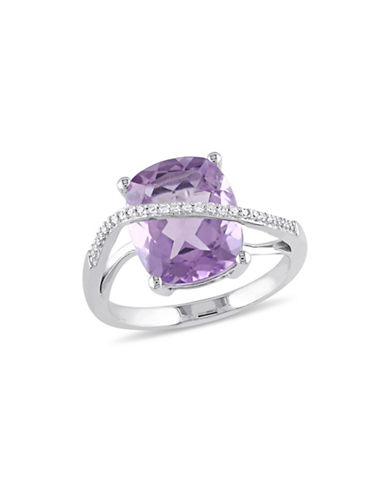 Concerto 0.10 TCW Diamond, Amethyst and Sterling Silver Crossover Ring-PURPLE-9