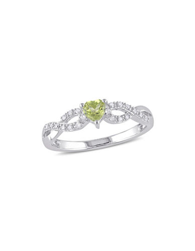 Concerto 0.10 TCW Diamond, Peridot and Sterling Silver Heart Ring-GREEN-5