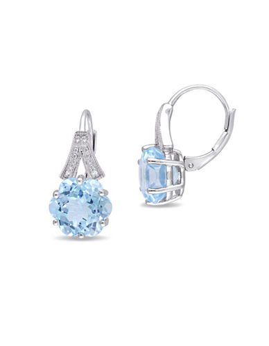 Concerto 0.02 TCW Diamond and Blue Topaz Earrings-BLUE-One Size