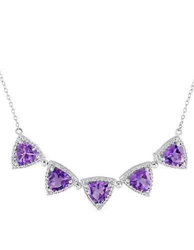 Concerto Amethyst, White Topaz Tri-Cornered Vintage Two-in-One Necklace-PURPLE-One Size
