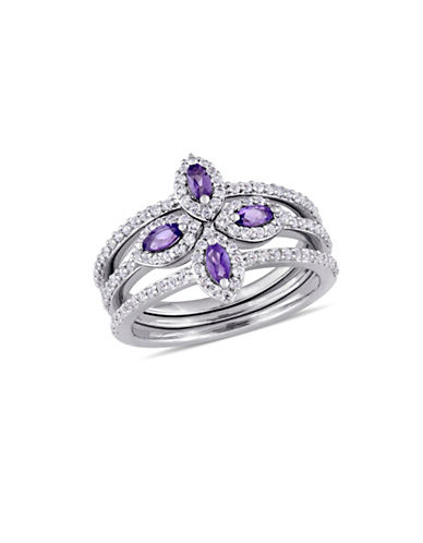 Concerto Amethyst, White Topaz and Sterling Silver Floral Halo Three-Row Ring-PURPLE-8