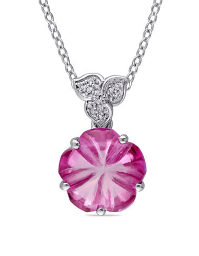 Concerto 0.04 TCW Diamond, Pink Topaz, Sterling Silver Flower Necklace-PINK-One Size