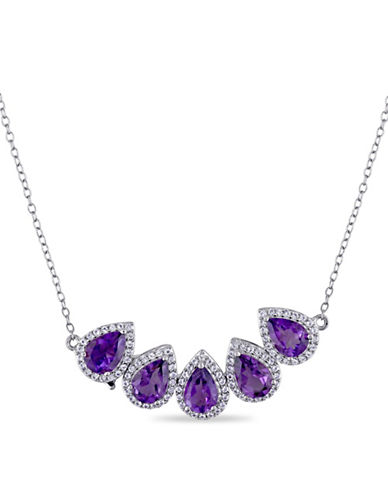 Concerto Amethyst and White Topaz Halo Two-in-One Necklace-PURPLE-One Size