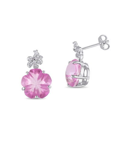 Concerto 0.07 TCW Diamond and Pink Topaz and Earrings-PINK-One Size