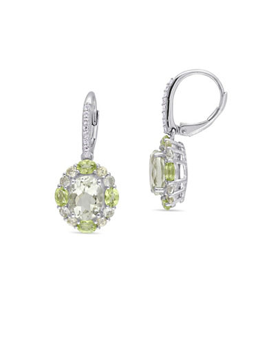 Concerto Multi-Gemstone Yellow Plated Sterling Silver Halo Earrings-GREEN-One Size