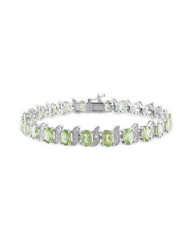 Concerto 0.03 TCW Diamond and Peridot Sterling Silver Bracelet-GREEN-One Size