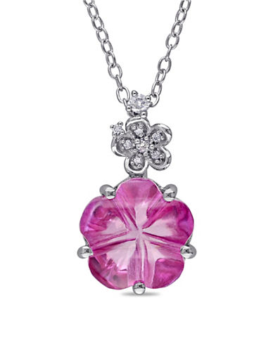 Concerto 0.05 TCW Diamond, Pink Topaz and Sterling Silver Flower Necklace-PINK-One Size