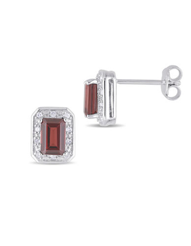 Concerto 0.10 TCW Diamond and Garnet Stud Earrings-RED-One Size