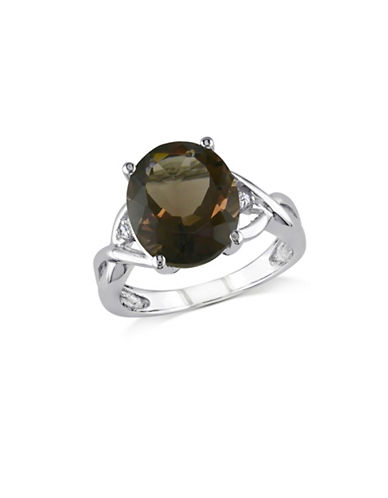 Concerto 0.01 TCW Diamond and Smokey Quartz Sterling Silver Ring-BROWN-9