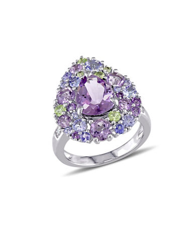 Concerto 0.02 TCW Diamond and Multi-Gemstone Pear-Shape Cluster Cocktail Ring-PURPLE-9