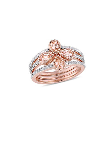 Concerto Morganite, White Topaz and Sterling Silver Flower Three-Row Ring-PINK-7
