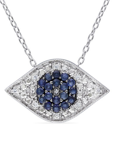 Concerto Sapphire and 0.027 TCW Diamond Pendant Necklace-BLUE-One Size