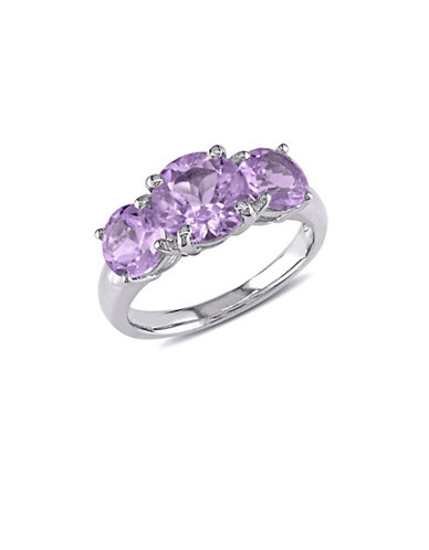 Concerto Amethyst Three-Stone Sterling Silver Ring-PURPLE-5