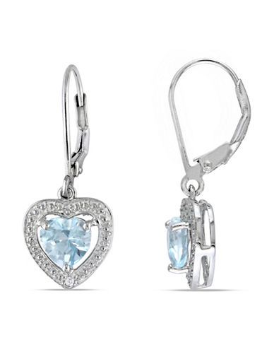 Concerto 0.01 TCW Diamond, Blue Topaz and Sterling Silver Earrings-BLUE-One Size