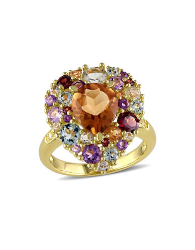 Concerto Multi-Gemstone and 0.02 TCW Diamond Pear-Shape Cocktail Ring-MULTI-9