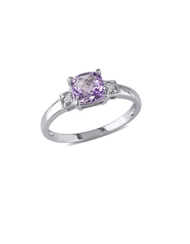 Concerto 0.04 TCW Diamond and Amethyst Sterling Silver Ring-PURPLE-9