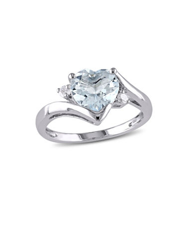 Concerto 0.06 TCW Diamond, Aquamarine and Sterling Silver Heart Ring-BLUE-7