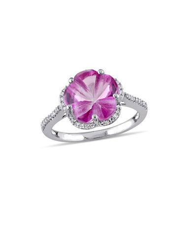 Concerto 0.15 TCW Diamond, Pink Topaz and Sterling Silver Flower Halo Ring-PINK-5