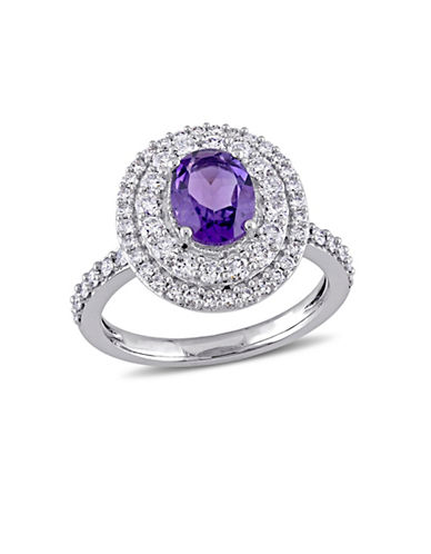 Concerto 0.92 TCW Diamond, Amethyst and 14K White Gold Halo Ring-PURPLE-7