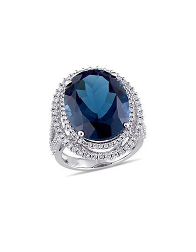 Concerto 0.93 TCW Diamond, Blue Topaz and 14K White Gold Double Halo Ring-BLUE-7