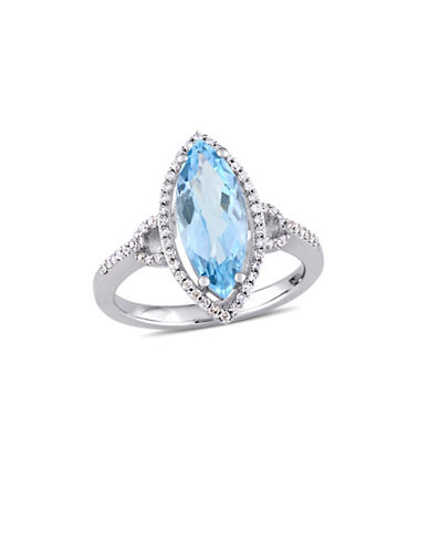 Concerto 0.25 TCW Diamond, 14K White Gold, Blue Topaz Halo Cocktail Ring-BLUE-8