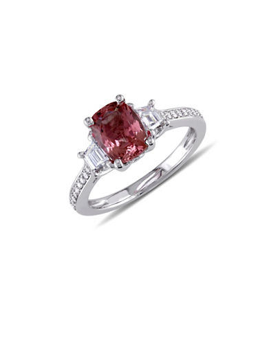 Concerto 0.77 TCW Diamond, Pink Tourmaline and 14K White Gold Three-Stone Ring-PINK-6