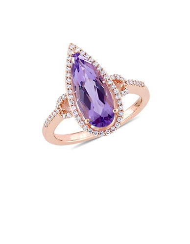 Concerto 0.24 TCW Diamond, 14K Rose Gold and Amethyst Halo Cocktail Ring-PURPLE-6