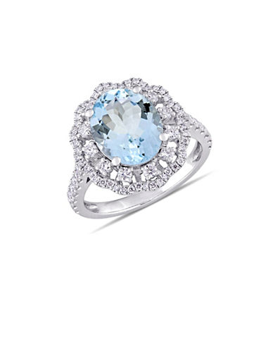 Concerto 0.75 TCW Diamond, Aquamarine and 14K White Gold Halo Floral Ring-BLUE-7