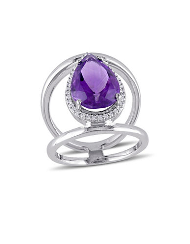 Concerto 0.2 TCW Diamond, Amethyst and 14K White Gold Halo Ring-PURPLE-7
