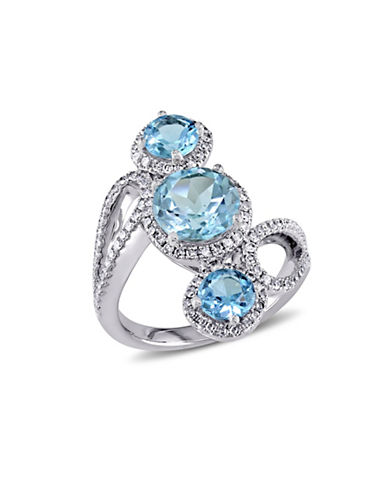 Concerto 0.6 TCW Diamond, Blue Topaz and 18K White Gold 3-Stone Gladiator Ring-BLUE-6