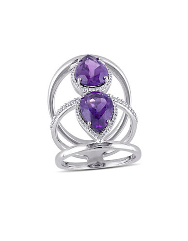 Concerto 0.36 TCW Diamond, Amethyst and 14K White Gold Halo Ring-PURPLE-7
