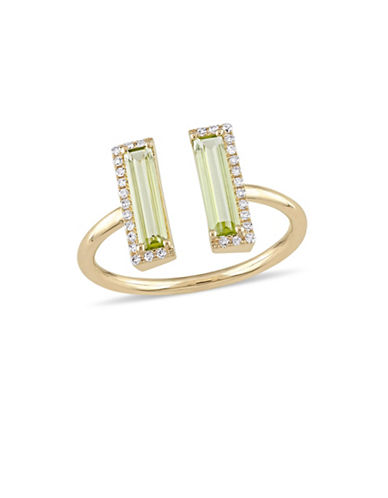 Concerto 0.1 TCW Diamond, Peridot and 14K Yellow Gold Open Ring-GREEN-8